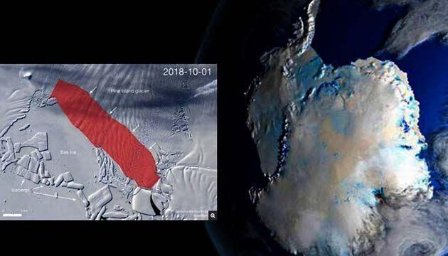 Antártida Occidental, Si el iceberg de la Antártida se rompe, tendrá 300 km.cuadrados