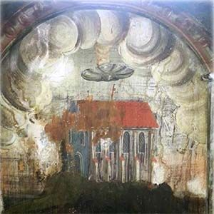 Pintura medieval: el fresco muestra un OVNI flotando sobre una iglesia