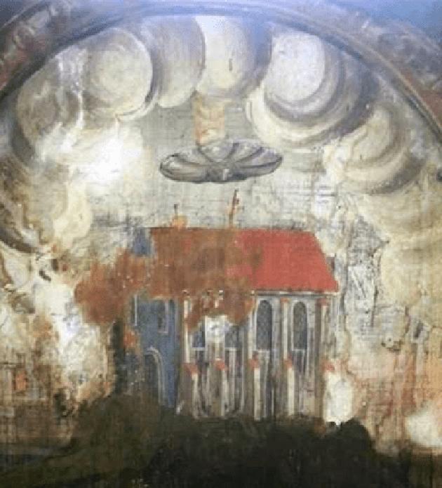 Pintura mural: el fresco muestra 1 OVNI flotando sobre una iglesia